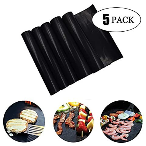 Linggt Tapis de grille pour barbecue antiadhésif Lot de 5accessoires Outil pour Home Cook électrique Grill à gaz, griller la viande Légumes, fruits de mer, oeufs,/réutilisable, durable, la chaleur Resistantand, facile à nettoyer