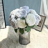 Longra Wohnaccessoires & Deko Kunstblumen Künstliche Rose Silk Blumen 5 Blüte Blatt Garten Dekoration DIY Rosa Blume (04A: 1 Strauß 5 Köpfe)