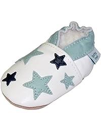 Chaussures de bébé en cuir souple d'etoile blanche et bleu clair, Dotty Fish garçons