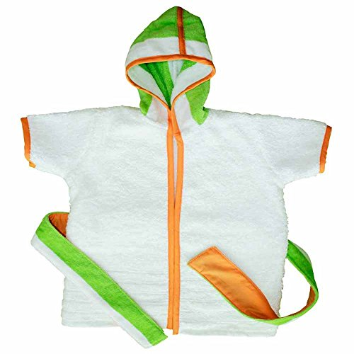 Kadambaby - Premium terry Cotton Kids Hooded Bath Robe Beach Towel for bath swim - Green Stripe (2T)