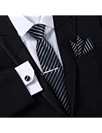 13b9eb00981a5 Jorlyen Homme Cravate - Ensemble Cravate en Soie avec Pince à Cravate Argent,  Boutons de Manchette et Pochette – Coffret Cadeau…