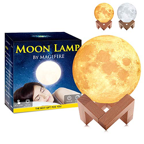 Nacht Licht Beleuchtung LED 3D Druck Warme Mond Lampe Touch Control Helligkeit Geschenk für Kinder und Halloween Ausrüstung (10CM) (Halloween 10 Stunden)
