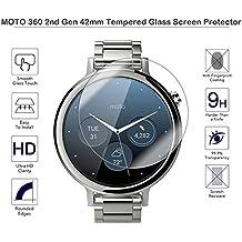 Protectores de pantalla Fiimi 42 mm, para Motorola Moto 360 segunda generación, de cristal templado con 9 H de dureza, 0,3mm de grosor, fabricado con cristal genuino