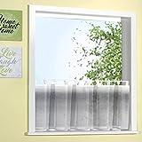 heimtexland Scheibengardine natürlicher Batist-Optik 50x140 cm mit Schlaufen in grau Farbverlauf verziert mit edlen Webstreifen ÖKOTEX Panneau Gardine Typ449