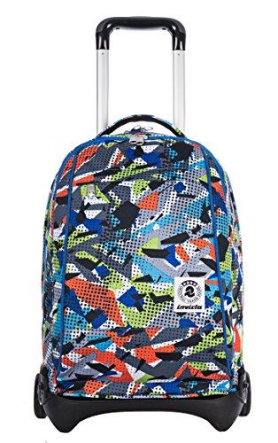 Trolley invicta - plug - fantasia multicolore - zaino sganciabile e lavabile - scuola e viaggio 35 lt