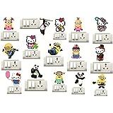 Sticker Studio Kitty,Minions,Panda Switch Board Sticker (Set of 15)