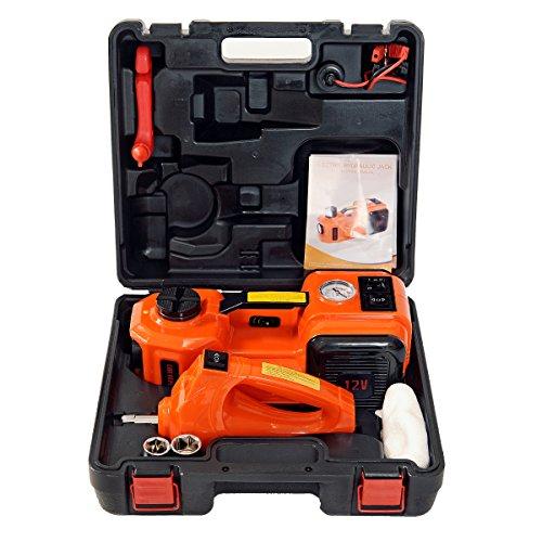Moglory 12V DC 5.0T(11000lb) Elektrische hydraulische Boden Jack und Reifen Inflator Pumpe und LED Taschenlampe 3 in 1 Set mit Elektro Schlagschrauber Car Repair Tool Kit