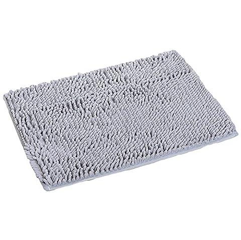 Diossad Tapis de Bain Gris Fibre de PolyesterDoux Shaggy Absorbant