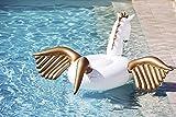 Riesiges aufblasbares Einhorn Schwimmtier,Große aufblasbare Einhorn Schwimmer, Cabell Inflatable Pegasus Swimming Pool Floating Pool Kylin Luftkissen, aufblasbare Floß schwimmen PVC aufblasbare schwimmende Bett 2-3 Personen, Insel Schwimmbad Luftkissen - Wasser Spielzeug (250X250X130cm, weiß)