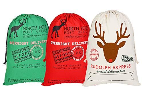 Saco Navidad grandes bolsas regalo Santa cordón niños