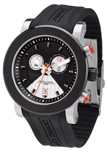 Jorg Gray Men's Quartz Analogue Watch JG8100-14 With Rubber Strap And Extension Clasp and Black Dial