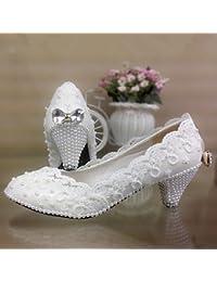 JINGXINSTORE Encaje blanco zapatos de boda con perlas de proa impermeable zapatos novia zapatos de rendimiento...