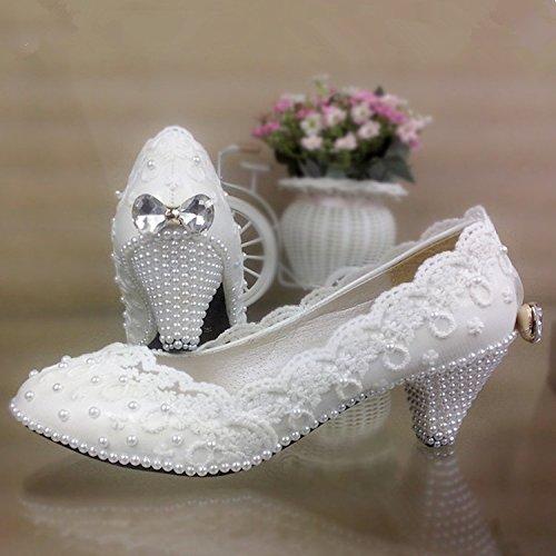 JINGXINSTORE Pizzo Bianco scarpe matrimonio con perla Bow scarpe impermeabili sposa damigella scarpe di prestazioni Bianco