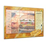 Memoboard 80 x 60 cm, Planer - Burger und Pommes - Memotafel Pinnwand - Essenplaner - Übersicht - Wochenplaner - Kochen - Fast Food - Essen planen - Familienplaner - Küche - Flur - Wohnzimmer