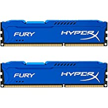 HyperX Fury - Memoria RAM de 8 GB (1600 MHz DDR3 Non-ECC CL10 DIMM, Kit 2x4 GB), Color Azul
