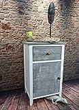 Livitat Kommode Schrank Nachtschrank Nachttisch Landhaus Shabby Vintage Used Look LV1052 (Weiß Grau Tare)