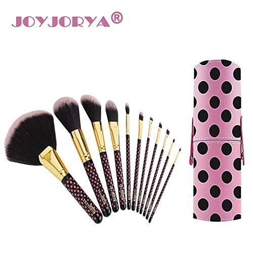 Pinceaux Maquillage joyjorya 11pcs Brosse à Real Professionnels Technique pour les Poudres, Anticernes, Contours, Fonds de Teints, Mélanges et Eyeliner - Rose