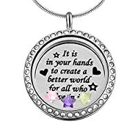 MJARTORIA Personalized Stainless Steel Engraved Star Floating Charms Locket Necklace