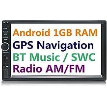 panlelo S1 2 DIN Android Car Stereo coche navegación Auto Radio AM/FM unidad principal de 7 pulgadas pantalla táctil Quad Core BT para volante reproductor de música/vídeo suboutput 1 GB RAM 16 GB ROM integrado Wi-Fi