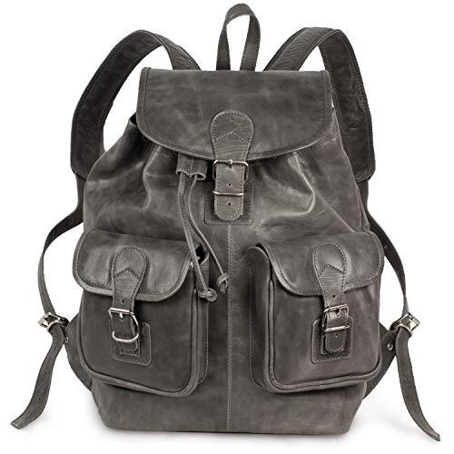 Großer Lederrucksack Größe L/Laptop Rucksack bis 15,6 Zoll, für Damen und Herren, aus Leder, Anthrazit-Grau, Hamosons 560