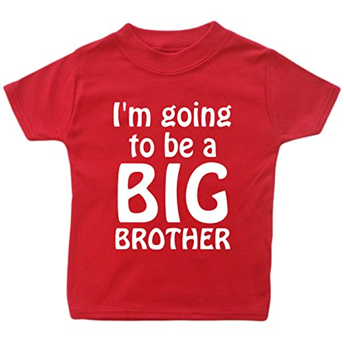 Image of I'm Going To Be A Big Brother T-Shirt. (2-3 years, Red T-Shirt - White Vinyl)