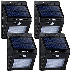 [4 Packs & 320 Lúmenes ] Foco Solar / luz solar con Sensor de Movimiento de VicTsing, Detector Activado luces exterior, Proporcionar hasta 14 HORAS de iluminación Para Jardín, Patio, Camino, Entrada Escaleras,Impermeable IP65