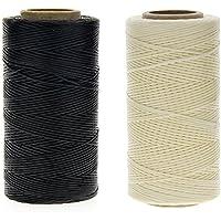 JuanYa - Cordon de couture en cuir ciré pour bricolage et Artisanat, Noir et beige, 260m 150D 1mm