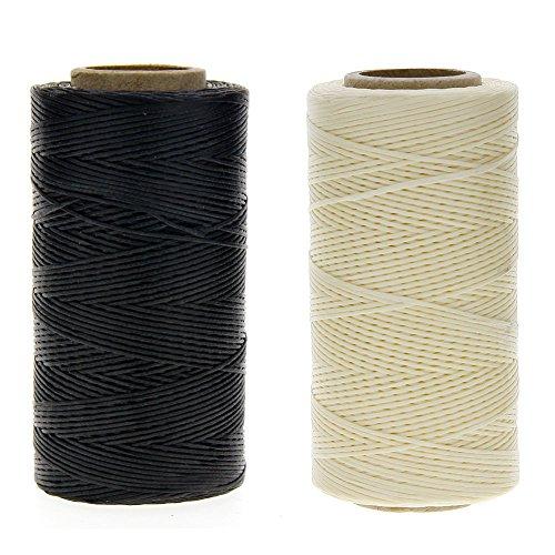 JuanYa - Cuerda de hilo encerada de 150 denieres para coser cuero, color negro y beige (1 mm x 260 m)