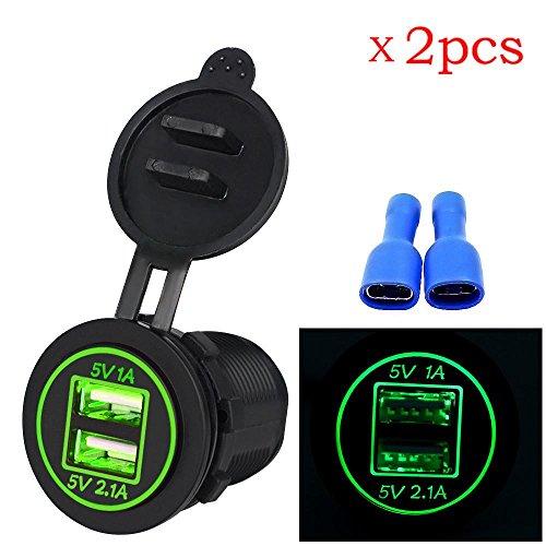 CICIYONER 2 stücke Dual USB Ladegerät Buchse Adapter Steckdose für 12 V 24 V Motorrad Auto (Grün) (Stein Pro Cut)