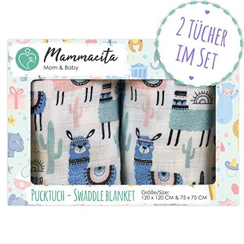 Pucktuch Baby 2er Set 100% zertifizierte Baumwolle - Swaddle Blanket - Musselin Puckdecke mit Lamas - ideal als Babydecke, Stilltuch, Spucktuch, Schmusedecke (120x120 cm + 75x75 cm) (Bio-baby-sonnenschutz)