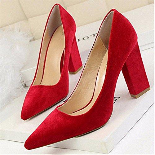 FLYRCX Europea di moda in pelle appuntita in seta scarpe con i tacchi alti con spessi bocca poco profonda P