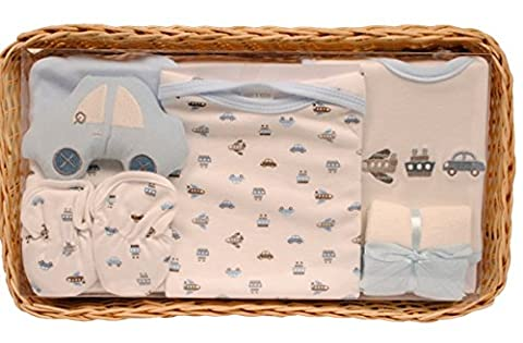 Newborn Bee Bo Baby Gift Set with Bodysuit, Bib, Booties, Hat, Toy 2 Washcloths in a Rattan Basket. 0 - 3 Months. Available in Blue, Pink, Cream, Lemon. (Blue)