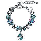 MANBARA Feines Armbänder Kristall Armband mit Blumen Glasperlen und einem Blumenförmigen Anhänger für Frauen Verstellbare Länge und Reihefolge der Beads DIY Armschmuck (BFF:Best Friend Forever)
