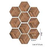 Naive water flow 10 Pz Creativo Legno Grain Wall Stickers Trendy Hexagon Piano Cucina Sticker Decalcomanie Americane Soggiorno Balcone Decorazione, A