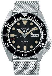 سيكو 5 فيس ليفت، مقاومة للماء 10 بار، تقويم، ميناء أسود، ستينلس ستيل، ساعة رجالي