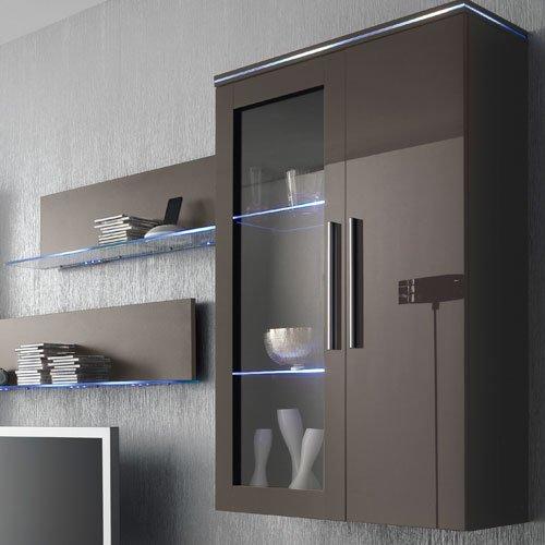 Anbauwand 6-tlg. Hochglanz grau, 2 x TV-Element, 2 x Hängevitrine, 2 x Glasbodenpaneel, Mindestbreite: ca. 300 cm, Tiefe: ca. 40 cm - 2