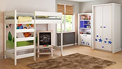 Loft Beds For Kids Children Juniors 140x70, 160x80, 180x80, 180x90, 200x90 No Mattress Included and Ladder is on the Front (Long Edge)