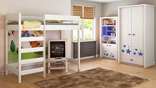 Children's Beds Home Lits surélevés Enfants Enfants Juniors 140x70, 160x80, 180x80, 180x90, 200x90 Pas de Matelas Inclus échelle sur...