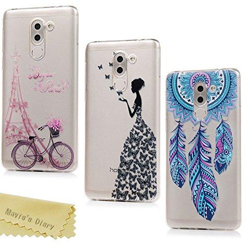 Mavis's Diary Case für Huawei Honor 6X TPU Case Schutzhülle Aufdruck Muster Bumper Handycover Durchsichtig Handyhülle Schmetterlings Damen + Eiffelturm + Traumfänger