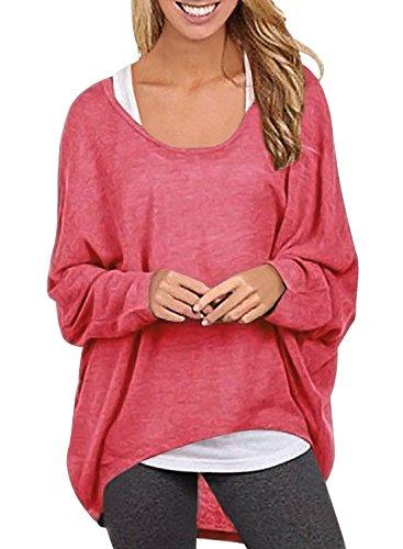 Yidarton Frauen Sexy Asymmetrisch Langarm Pullover Pulli Strickjacke Oversized Baggy Lose Jumper T- shirt Tops Bluse (Wassermelone,XL)