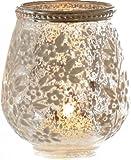 stimmungsvolles Tisch-Licht Teelicht-Glas florales Muster antik-silber durchscheinend Preis für 1 Stck. klein