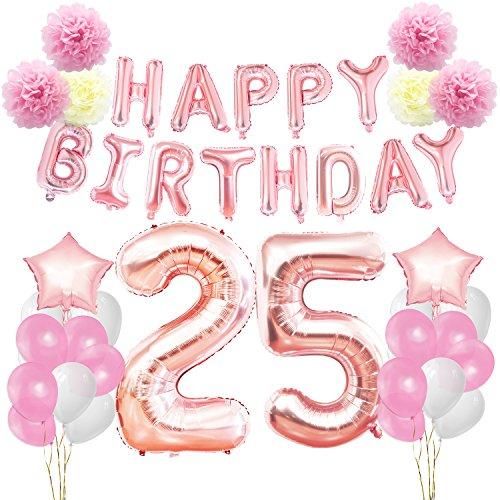 KUNGYO Zum 25. Geburtstag Party Dekorationen Kit-Rose Gold Happy Birthday Banner-Riesen Zahl 25 und Sterne Helium Folienballons, Bänder, Papier Pom Blumen, Latex Ballon, Alles Gute Zum Geburtstag für Frauen