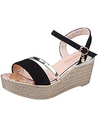 Sannysis sandalias mujer planas, Zapatos de tacón bajo con cabeza de pez (38CM, negro)