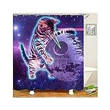Bishilin Bad Vorhang für Badezimmer Katze mit Erdball Anti-Schimmel Duschvorhang 165x180 cm