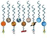 Konsait Weltraum Sonnensystem Hängedekoration Geburtstag Deckenhänger Spiral Girlanden für Kinderparty Junge und Mädchen Geburtstags Dekoration, 14 Teilig Set