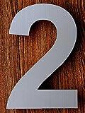 QT Moderne Hausnummer - 15.2 Zentimeter - Gebürsteter Edelstahl (Nummer 2 Drei), Schwimmendes Aussehen, Einfache Installation und aus massivem hergestellt 304