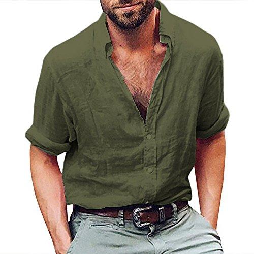 Makefortune Herren Leinen Button Up Shirts Casual Langarm Loose Fit Beach Shirts Weiß Rosa Armee Grün Grau -