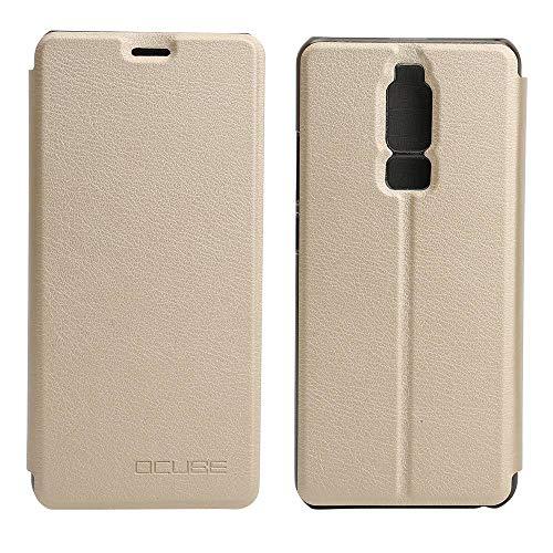 Ycloud Tasche für Leagoo S8 Hülle, 360-Grad-Schutz case Artificial Leather Schale Flip Cover Hülle Hartplastik Innenschale mit Funktionshalterung Schutzhülle (Gold)