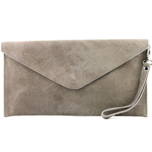 ital Clutch/Abendtasche aus Wildleder, Farbe:Beigegrau ()