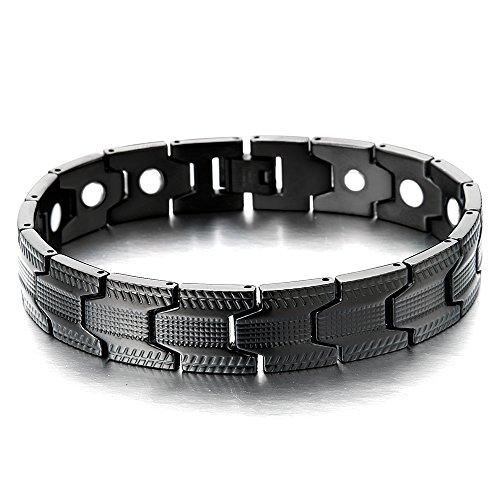 Spezial-Design Schwarz Armband für Herren Edelstahl-Armband mit Starken Magnete, Link-Tool zum Entfernen Enthalten